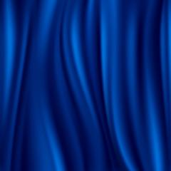 Blue silk, satin material wavy luxury vector background
