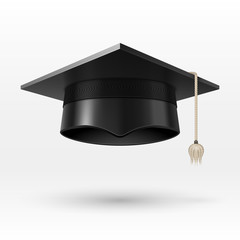 Academic graduation cap, hat. realistic vector illustration
