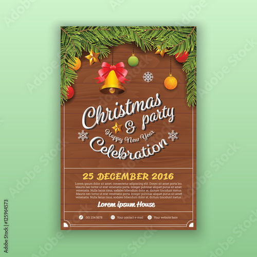 christmas happy new year party flyer template christmas party