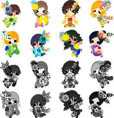 My original icons of stylish girls in Kimono(Japanese style cloth)