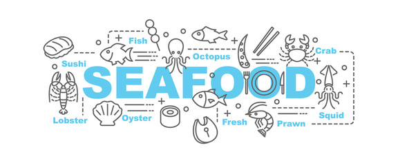 seafood vector banner