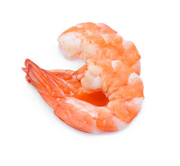 Seafood. Close up Shrimps, Pile of peeled Prawns isolated on a W