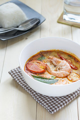 Tom Yum Kung spicy soup traditional Thai food cuisine in Thailand