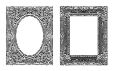 Set 2 - Antique picture gray frame isolated on white background,