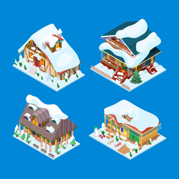 Isometric Christmas Decorated Houses with Christmas Tree and Snowman. Vector 3d flat illustration