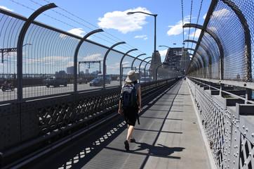 Person crossing Sydney Harbour Bridge  in Sydney Australia