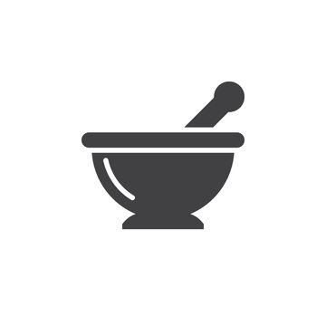 Mortar and pestle icon vector, Kitchen pounder solid flat sign, pictogram isolated on white, logo illustration