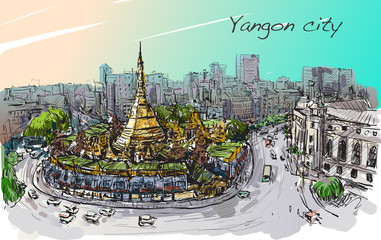 sketch cityscape of Yangon, Myanmar on topview Shwedagon pagoda,