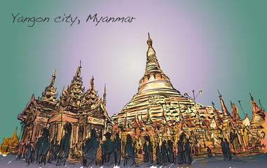 sketch cityscape of Yangon, Myamar image of Shwedagon pagoda,
