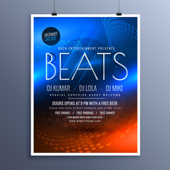 music party advertising flyer template in blue and orange colors