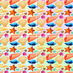 Seamless background with shells and starfish