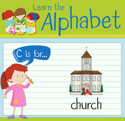Flashcard letter C is for church
