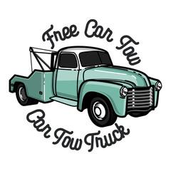 Color vintage car tow truck emblem