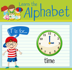 Flashcard alphabet T is for time