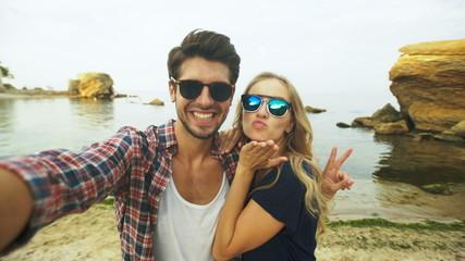 Beautiful couple taking a selfie.