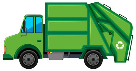 Rubbish truck with recycle sign