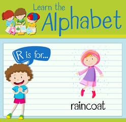 Flashcard alphabet R is for raincoat