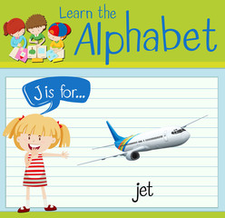 Flashcard alphabet J is for jet