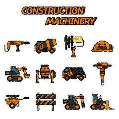 Construction machinery flat icon set