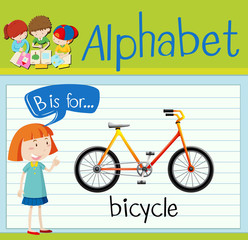 Flashcard letter B is for bicycle