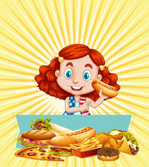 Girl and different kinds of fastfood