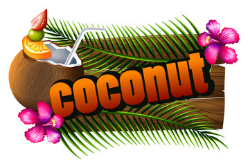 Font design with word coconut