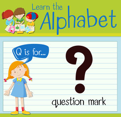 Flashcard letter Q is for question mark