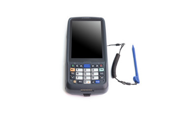 Handheld laser barcode scanner reader with blank isolated screen. Isolated on white background