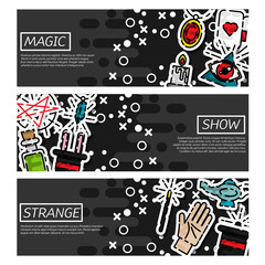 Set of Horizontal Banners about magic