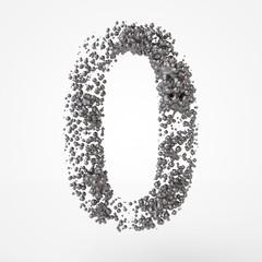 3d number 0 in metal over white background. 3d render illustration