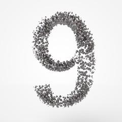3d number 9 in metal over white background. 3d render illustration