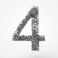 3d number 4 in metal over white background. 3d render illustration