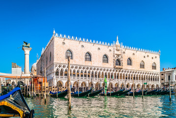 Doge's Palace Venice Italy./ Waterfront view from gondola at amazing palace in Venice city, Italy.