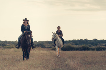 Girls Riding Horses in the Plains Mallorca