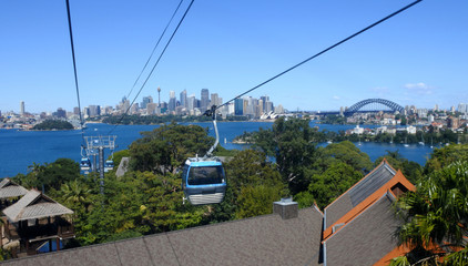 Sydney skyline from a cable car in Taronga Zoo Sydney New South