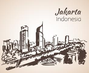 Jakarta cityscape sketch. Isolated on white background
