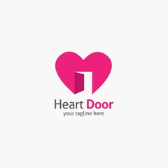 Heart Shape Logo design vector template. Corporate branding identity. Flat design