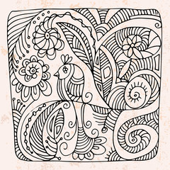 Zentangle with bird shape flower.