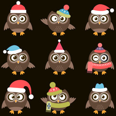 Cute brown owls with hats