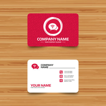Business card template with texture. Chat speech bubbles. Wifi sign. Wi-fi symbol. Wireless Network icon. Wifi zone. Phone, web and location icons. Visiting card  Vector