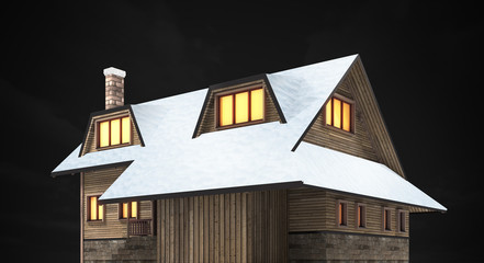 wooden mountain lodge at night