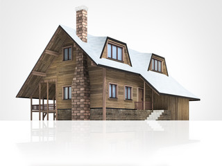 wooden mountain hut with snowy roof