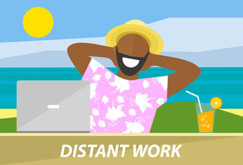 Happy black man working remotely on a laptop. Distant work, freelance, business freedom concept. Flat design vector illustration