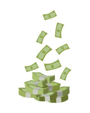Stack of Money Vector Illustration Flat Design.