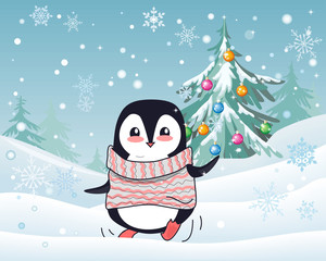 Christmas Penguin Flat Design Vector Illustration