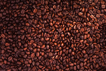 Close-up of coffee beans for background and texture - the beautiful food background