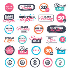 Sale shopping stickers and banners. Every 5, 10, 15 and 20 minutes icons. Full rotation arrow symbols. Iterative process signs. Website badges. Black friday. Vector