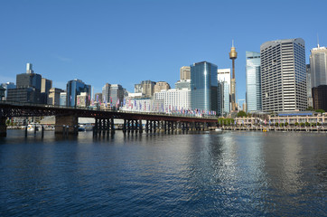Cityscape of Darling Harbour at sunset Sydney New South Wales Au