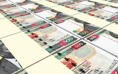 Kenyan shillings bills stacks background. 3D illustration