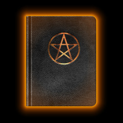 Glowing Leather Book With Pentagram. Vector